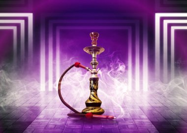 Hookah smoking on a purple background of an empty room neon purple light, smoke, smog