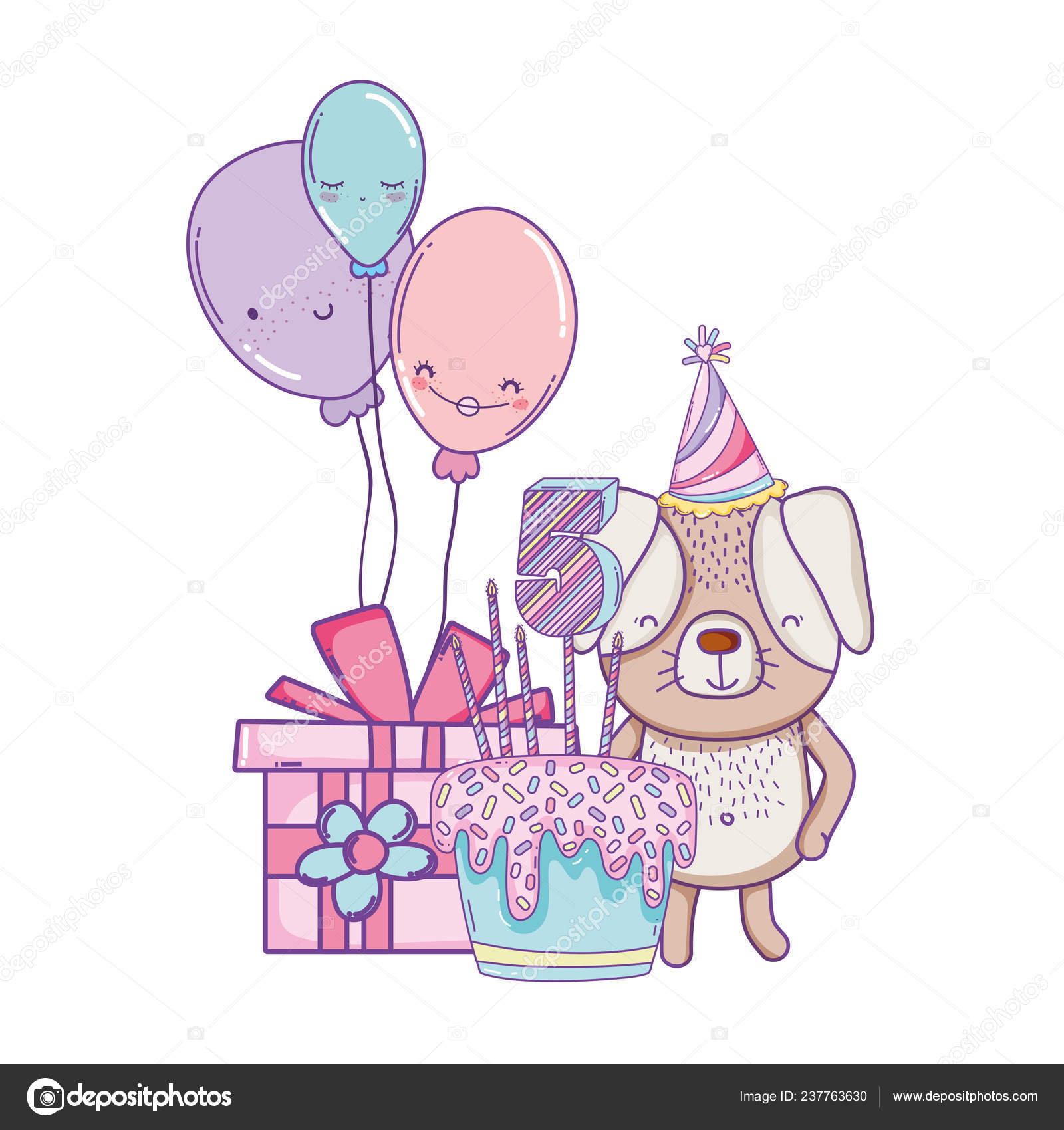 Happy Birthday Dog Cake Balloons Gift Box Cartoons Vector Illustration Stock Vector C Stockgiu 237763630