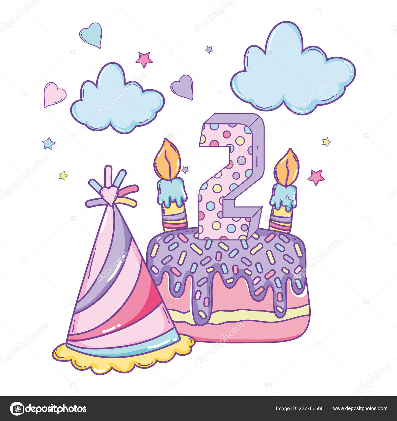 Happy Birthday Hat Cake Candle Number Two Cartoons Vector Illustration Stock