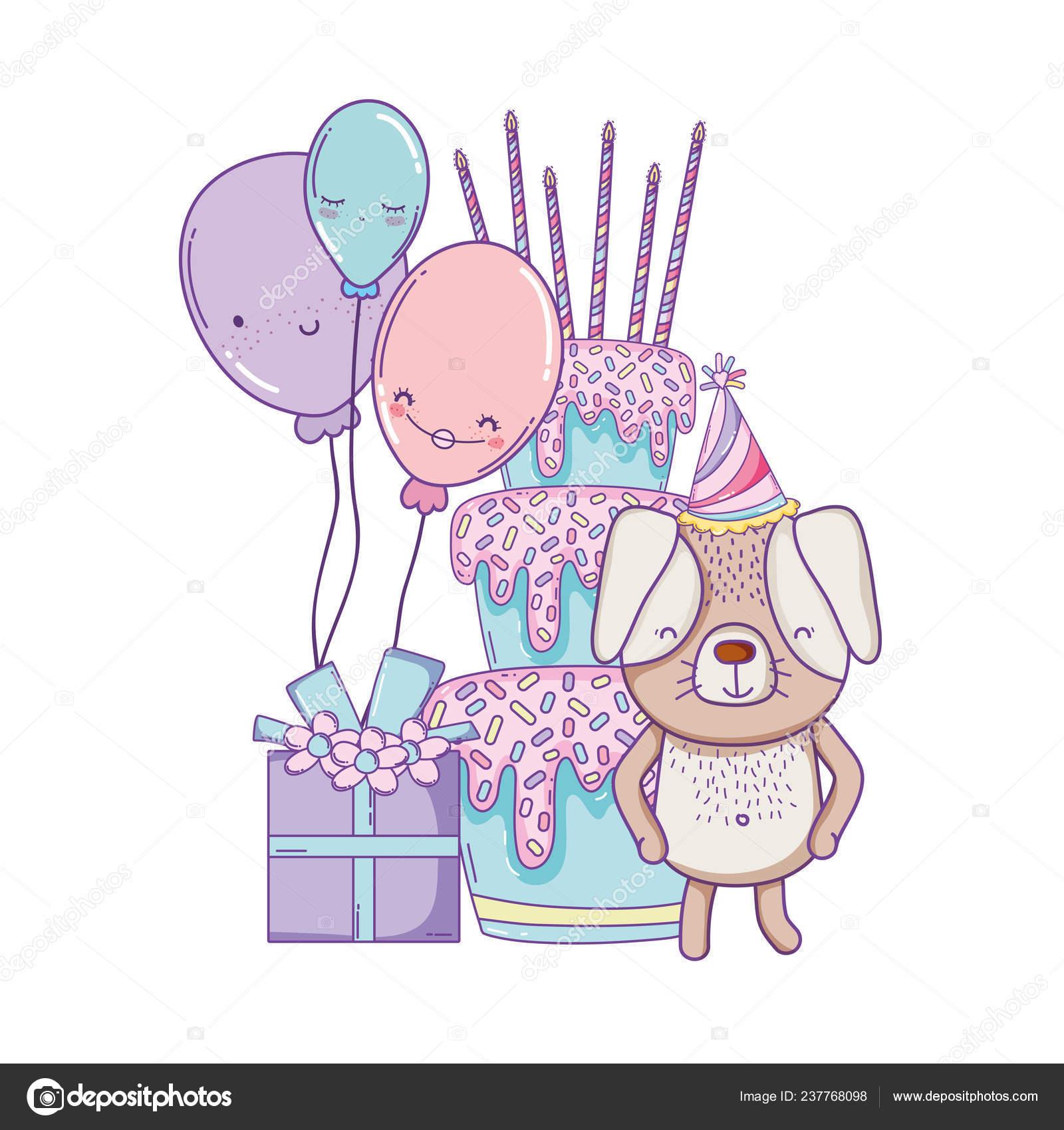 Alles Gute zum Geburtstag Hund mit Kuchen Luftballons und Geschenk Box  Cartoons Vektor Illustration Grafik Design 30