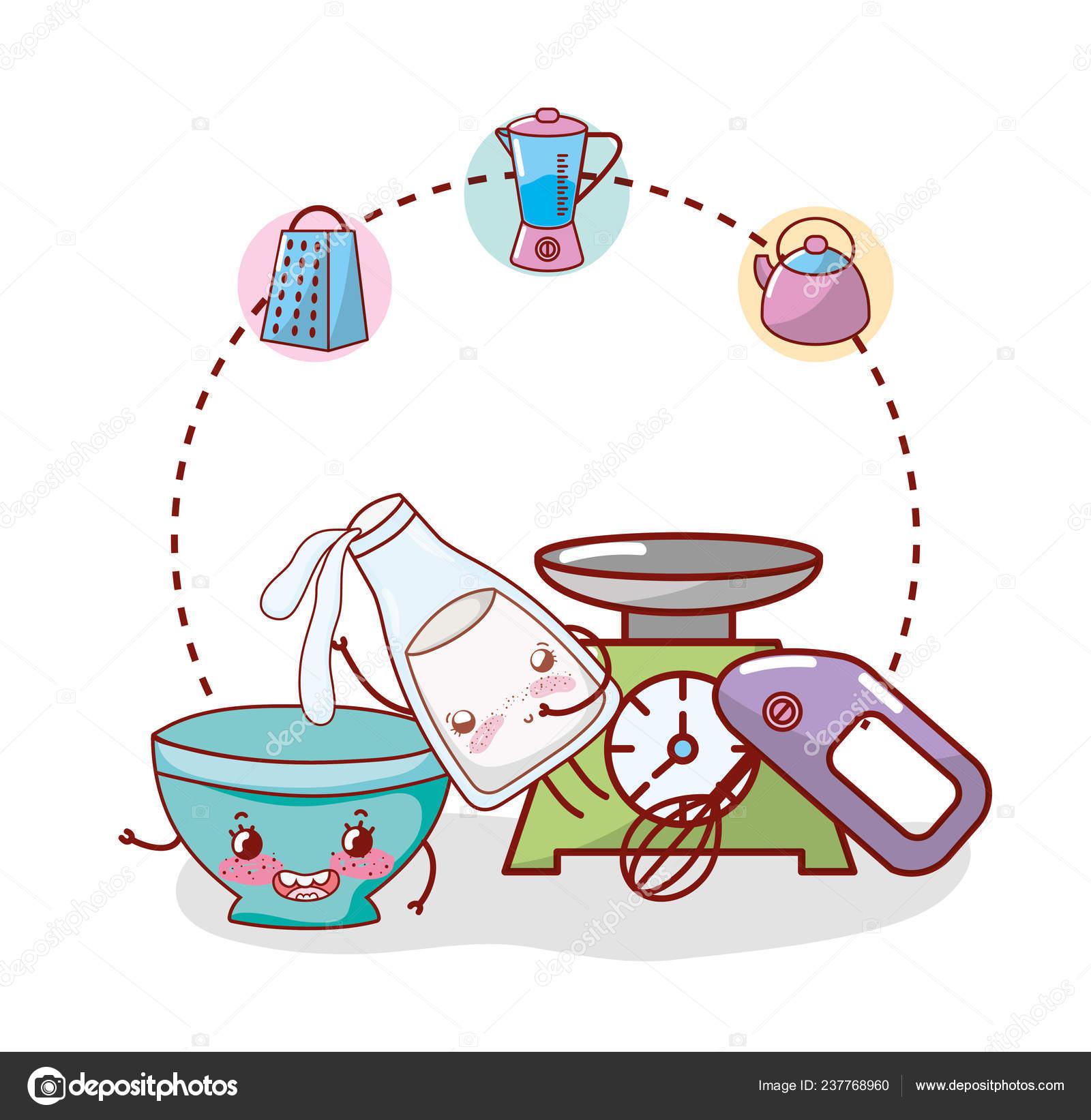 Kitchenware Utensils Ingredients Icons Cartoon Kawaii Cute Cartoon