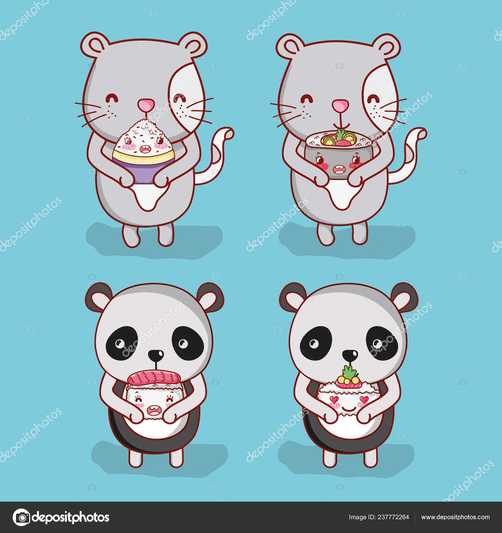 Chats Panda Avec Des Dessins Animés Nourriture Japonaise