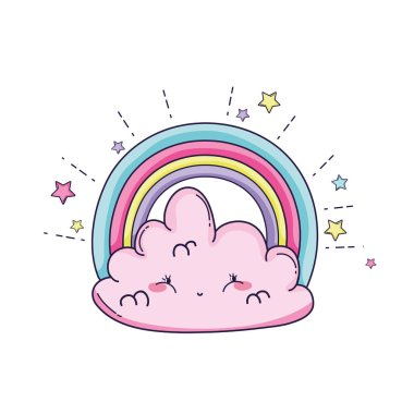 cloud and rainbow with stars cute cartoons vector illustration graphic design