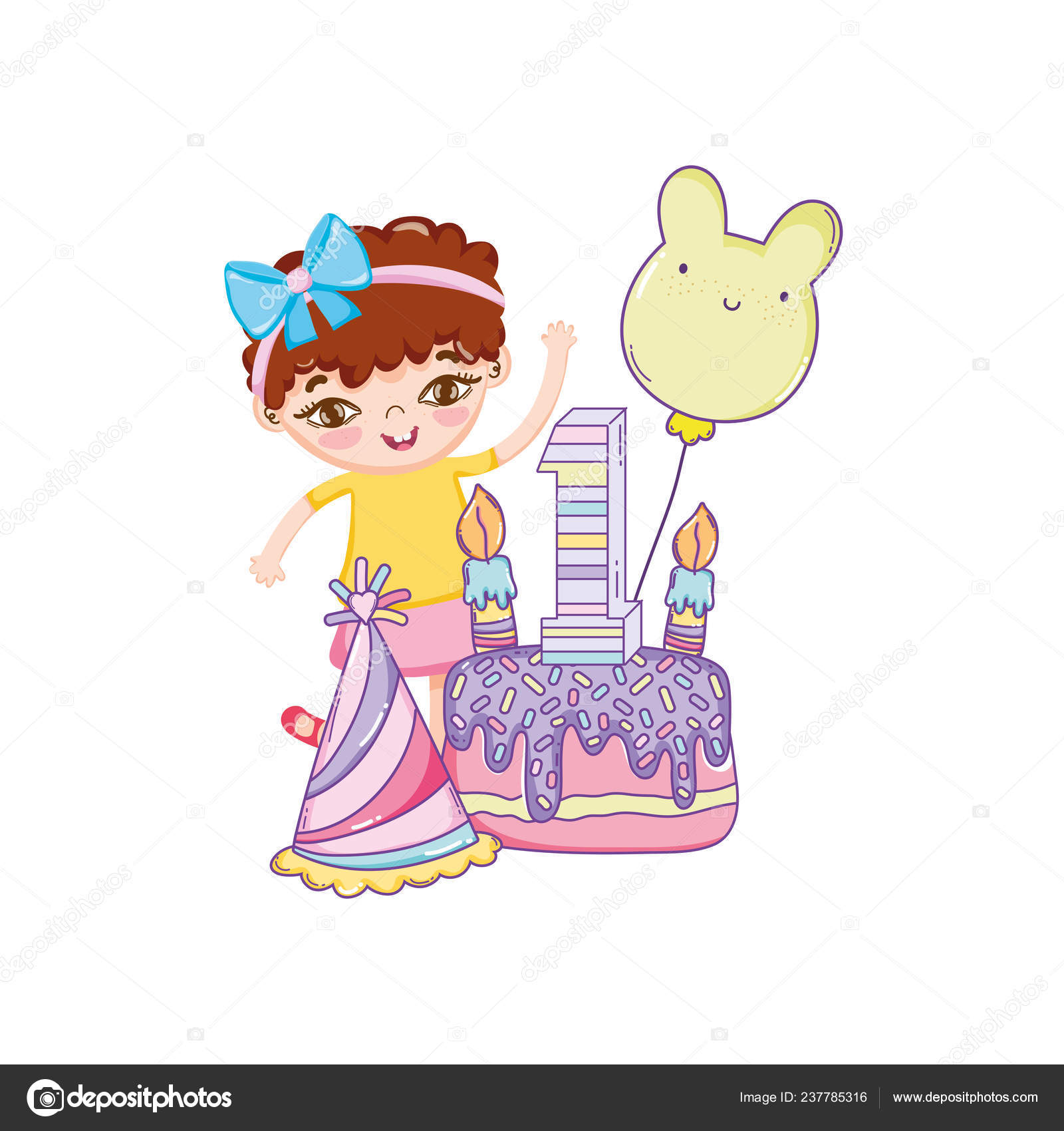 Happy Birthday Girl Cake Balloon Cute Cartoons Vector Illustration
