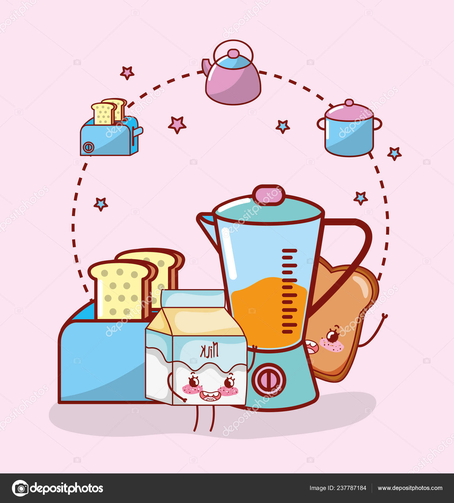 Kitchenware Ingredients Icons Cartoon Kawaii Cute Cartoon Stock