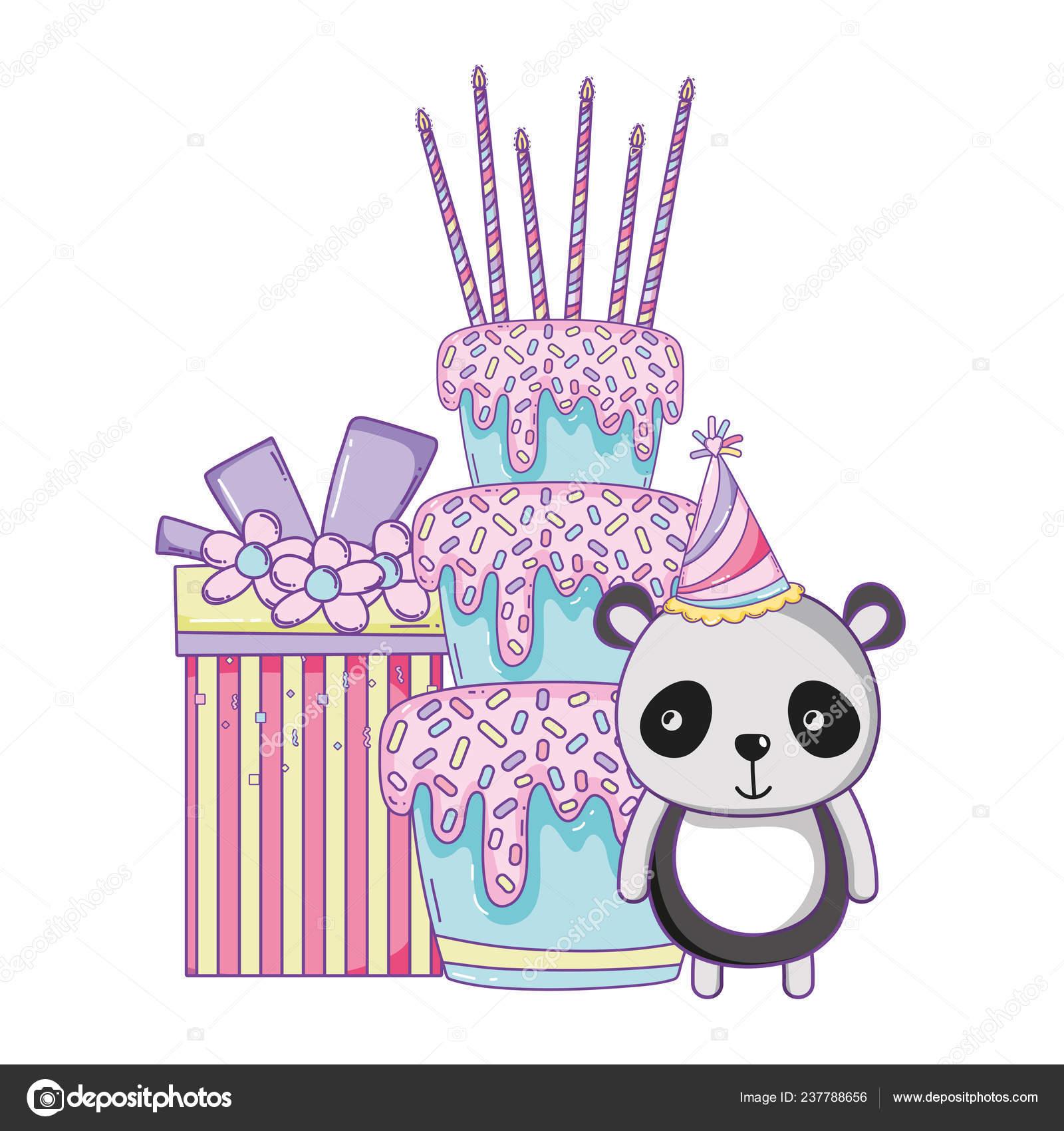 Phenomenal Happy Birthday Panda Bear Gift Box Cake Cartoon Vector Funny Birthday Cards Online Inifofree Goldxyz