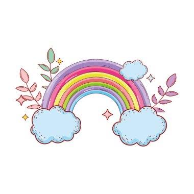 cute rainbow with cloud vector illustration design