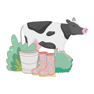 cow farm animal with garden and boots vector illustration design