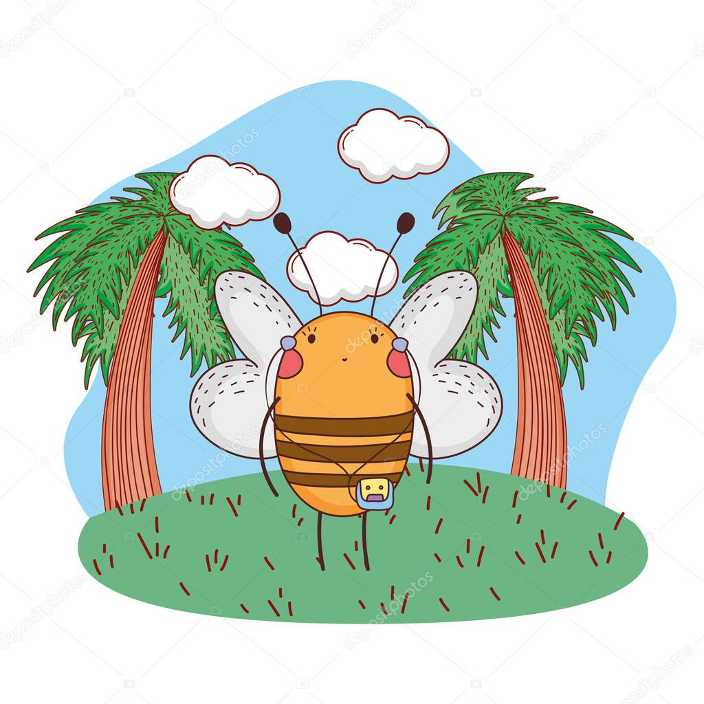 cute little bee with walkman vector illustration design