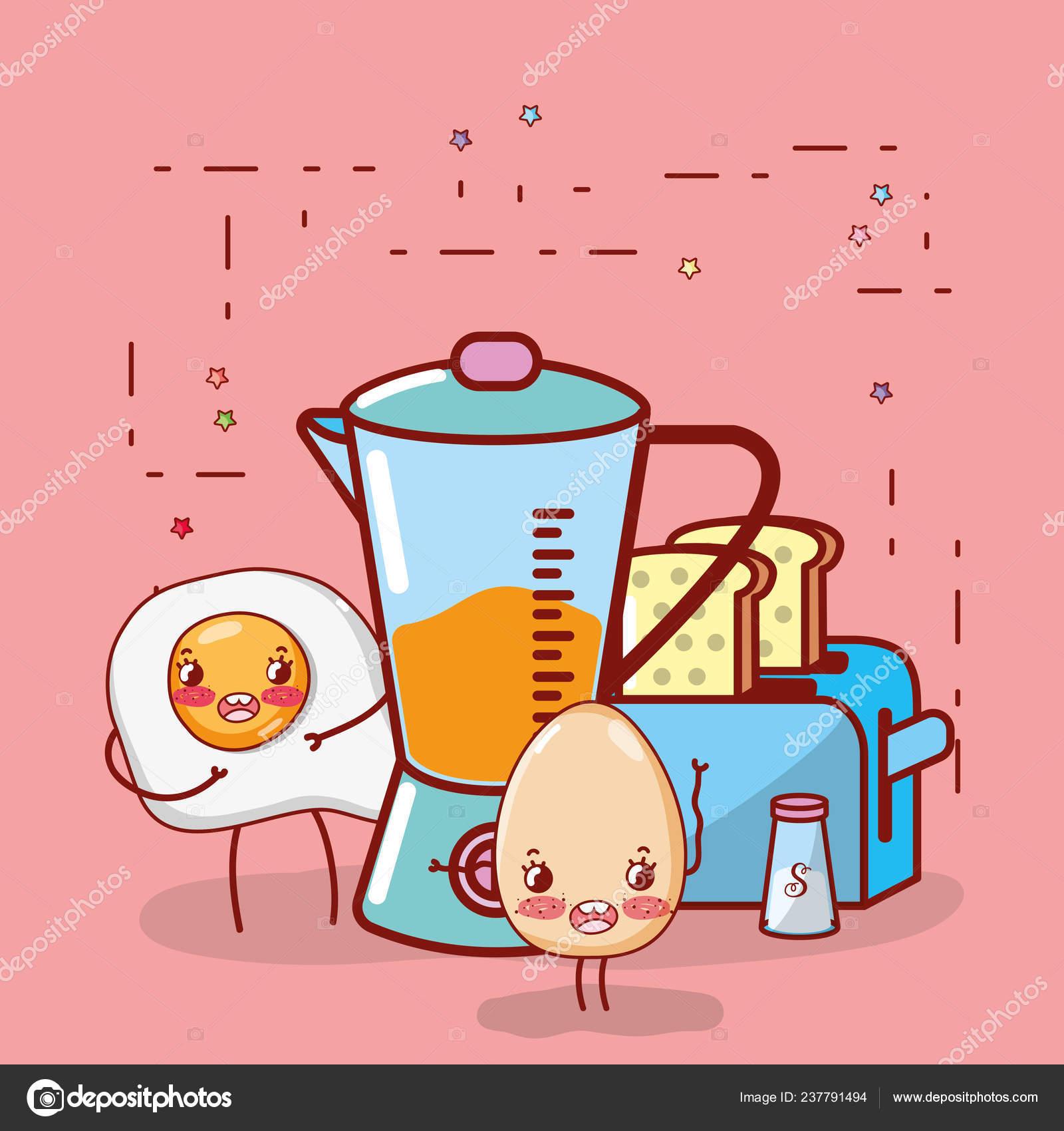Kitchenware Ingredients Elements Cartoon Kawaii Cute Cartoon