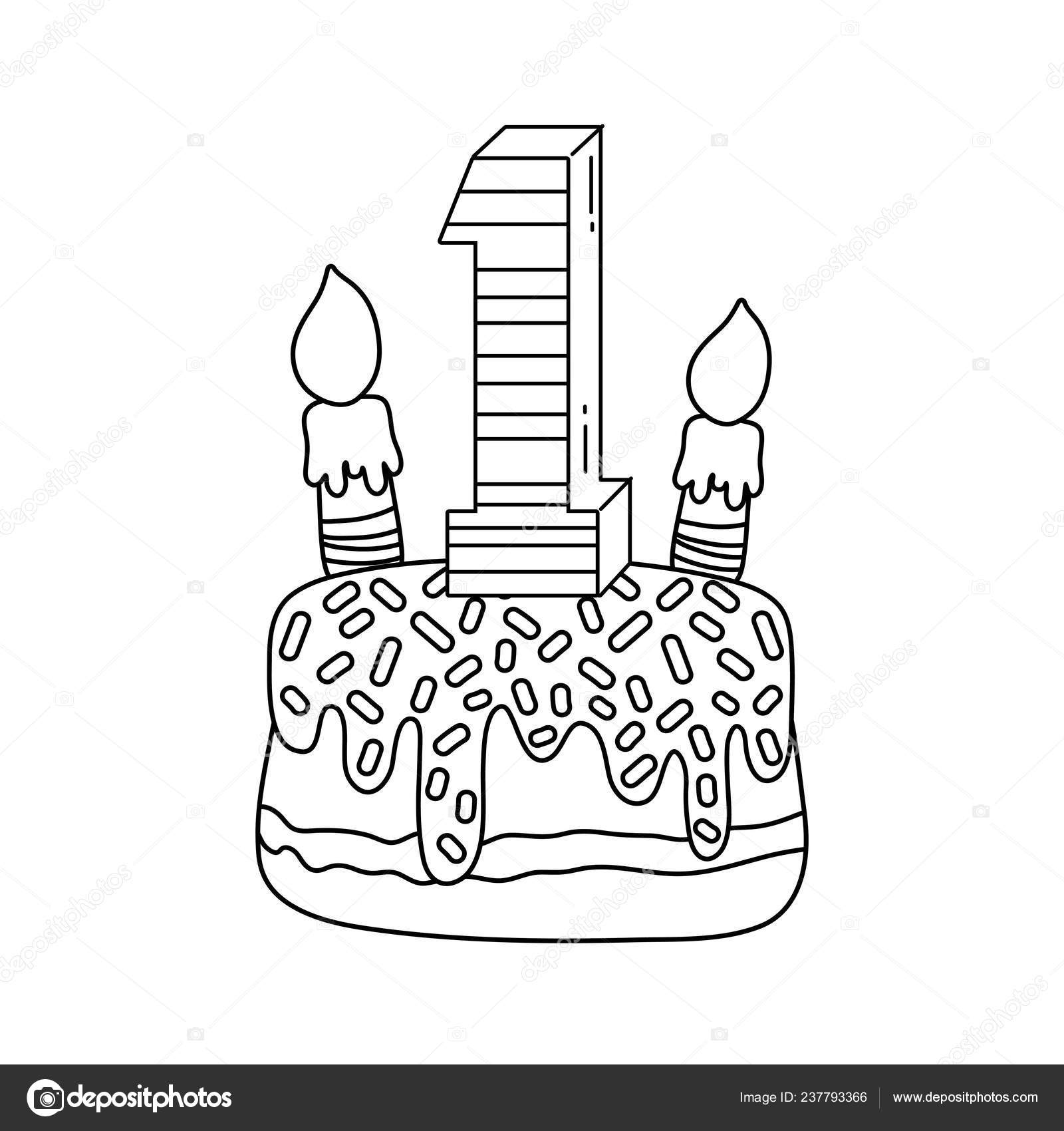 Kids Birthday Cake Candle Cute Cartoons Vector Illustration Graphic