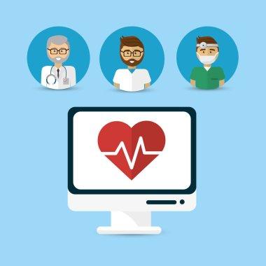 hospital doctors computer icon image design, vector illustration