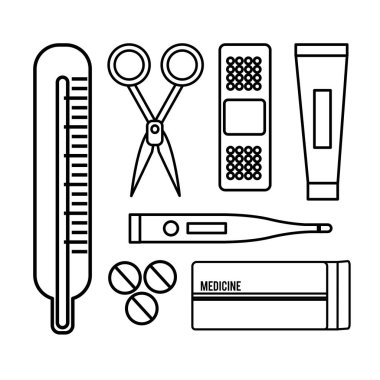 figure tethoscope with hospital tools icon, vector illustration design
