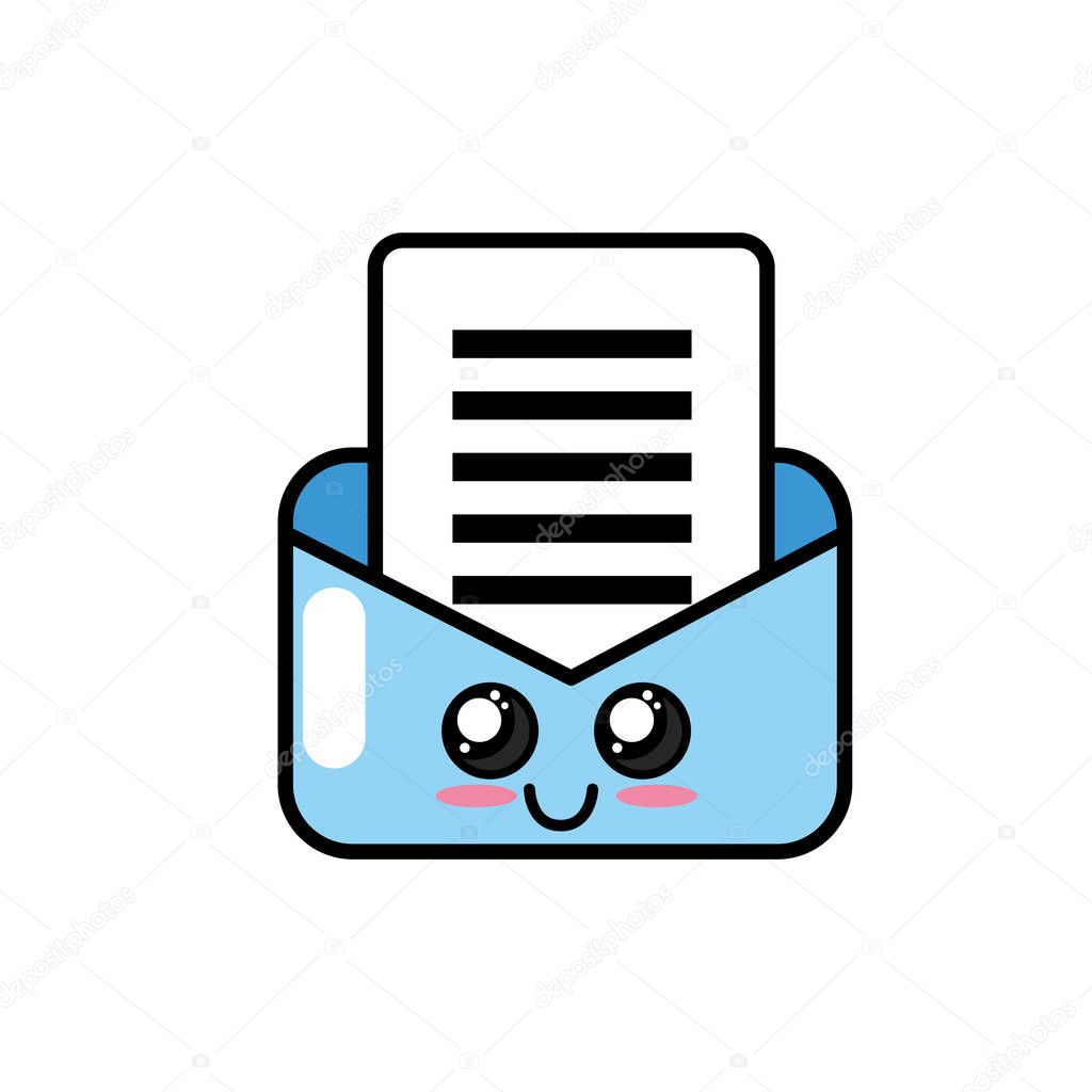 kawaii cute happy e-mail message vector illustration
