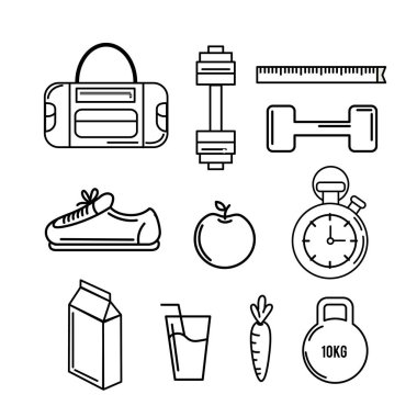 healthy lifestyle tools icons to practice exercise, vector illustration