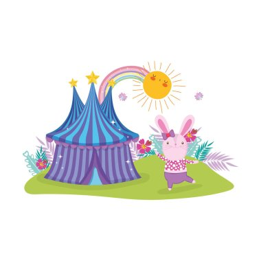cute circus rabbit with layer and tent vector illustration design