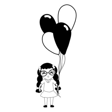 contour pretty girl with hairstyle and balloons, vector illustration