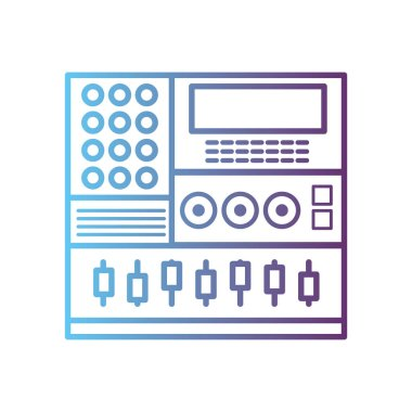 line electronic audio console to play music performer vector illustration