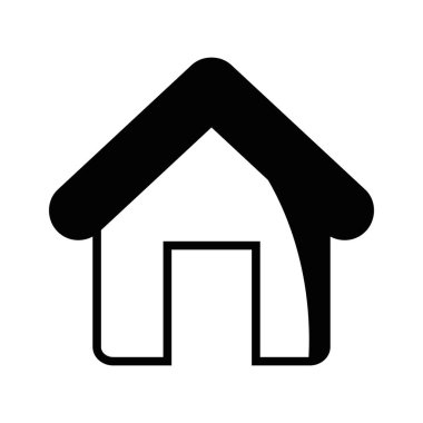 contour house object with roof and door vector illustration