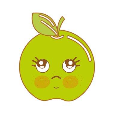 kawaii cute thinking apple fruit, vector illustration
