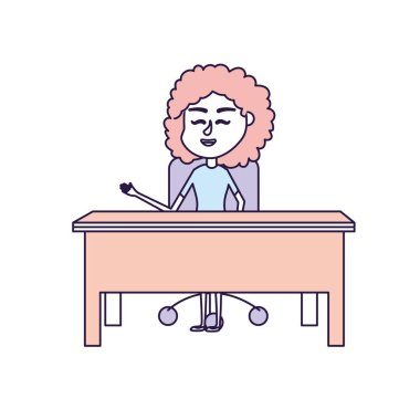 woman teacher sitting and explaining to the students vector illustration