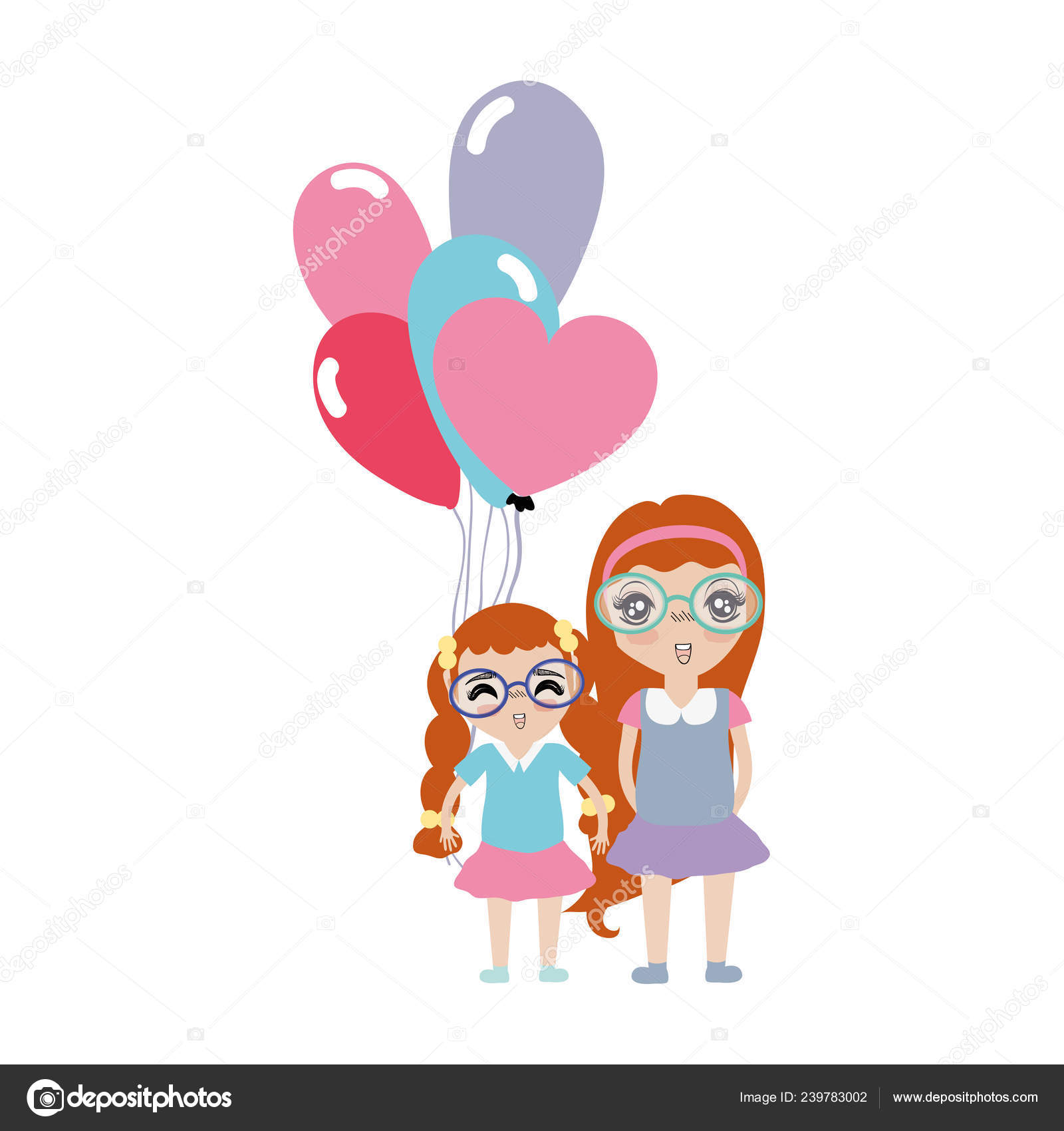 Hübsche Mädchen Mit Frisur Und Luftballons Vektor