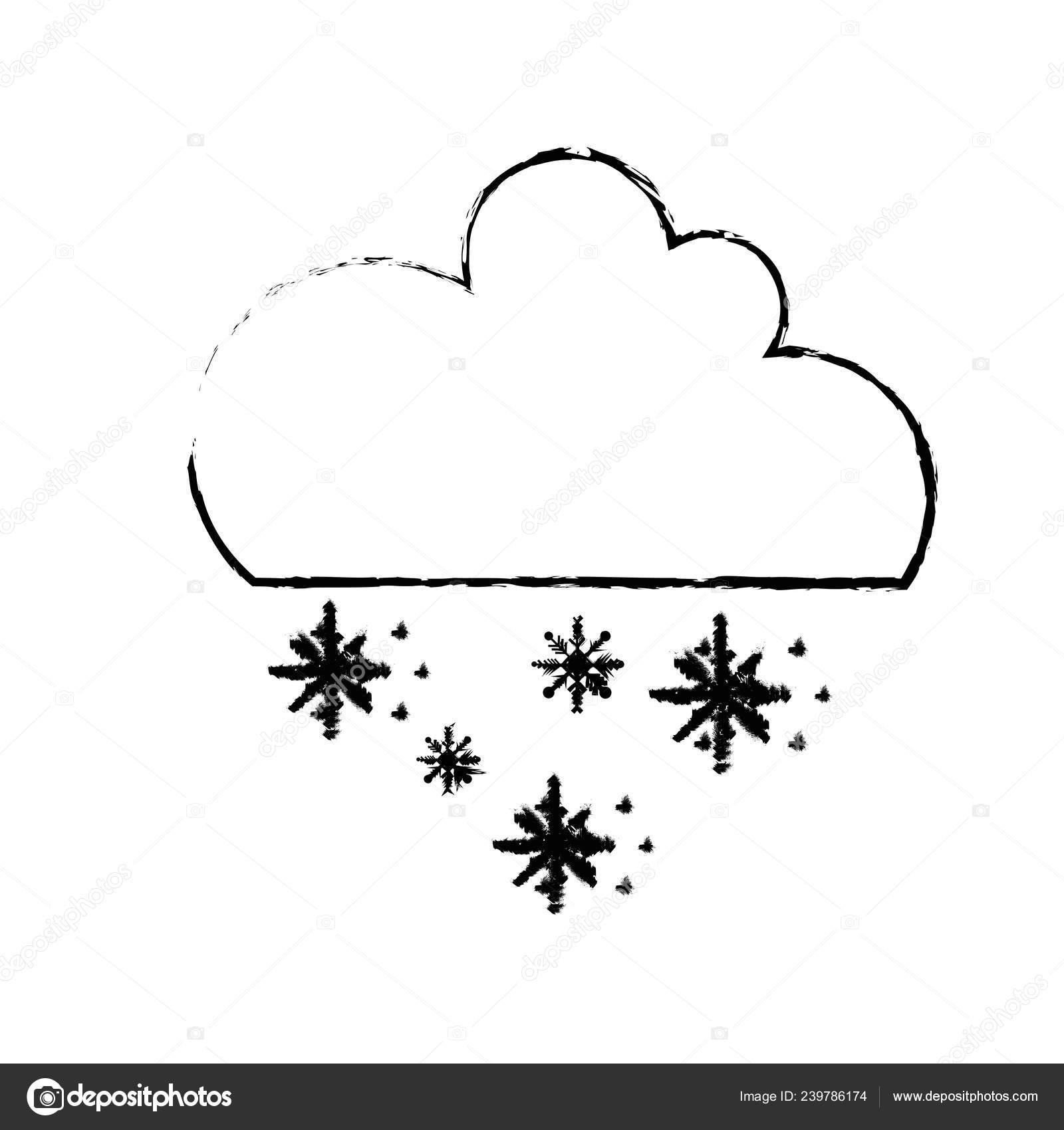 Figure cute cloud snow cold weather vector illustration stock vector