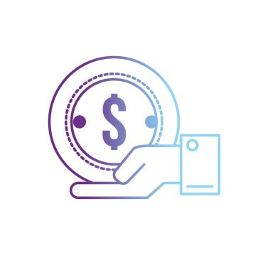 line businessman with coin cash money in the palm hand vector illustration