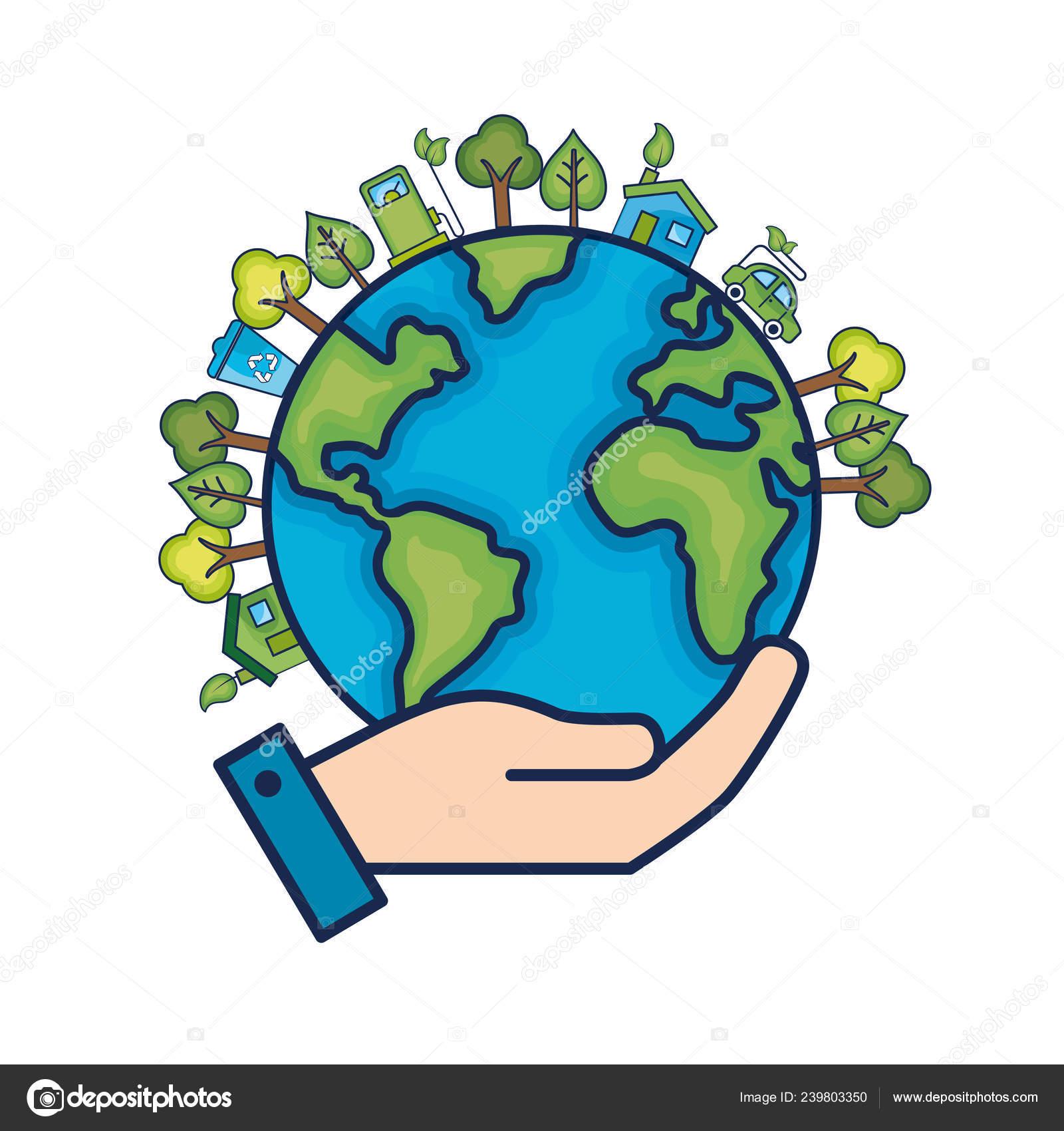 Planeta Tierra Ecología Ilustración Vector Cuidado Medio