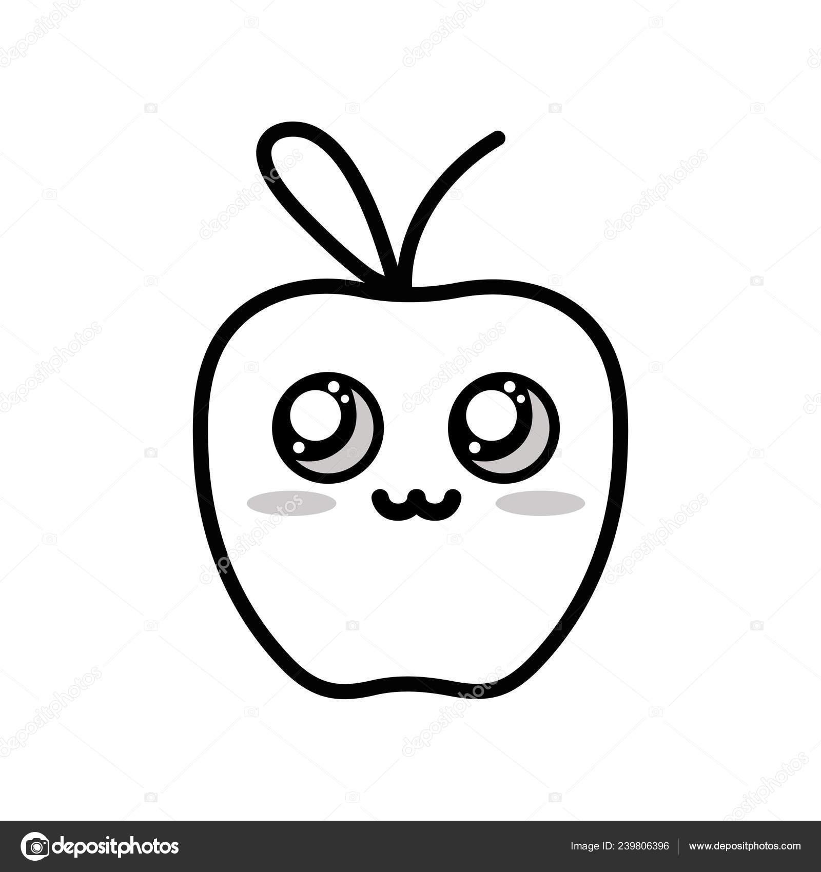Frutas Manzana Tierno Lindo Kawaii Línea Vector Ilustración