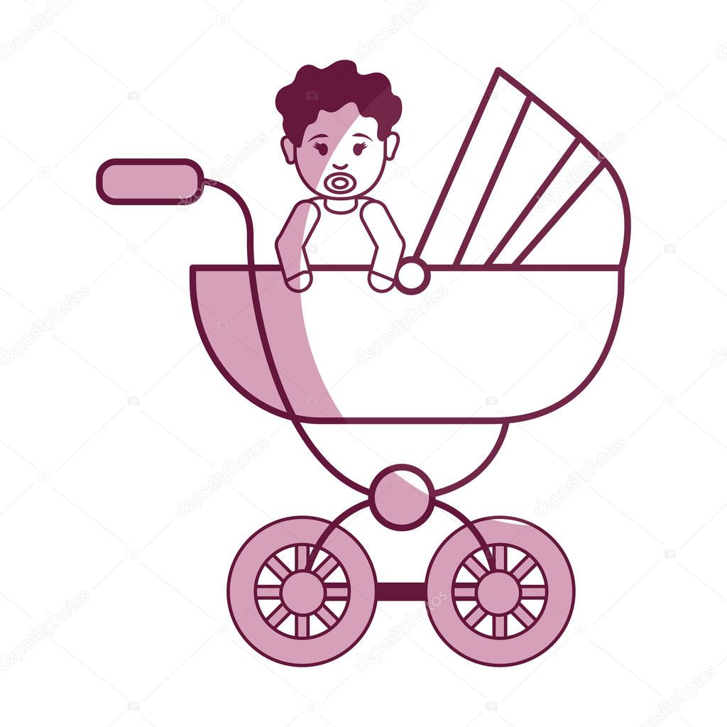 baby girl with hairstyle inside carriage, vector illustration