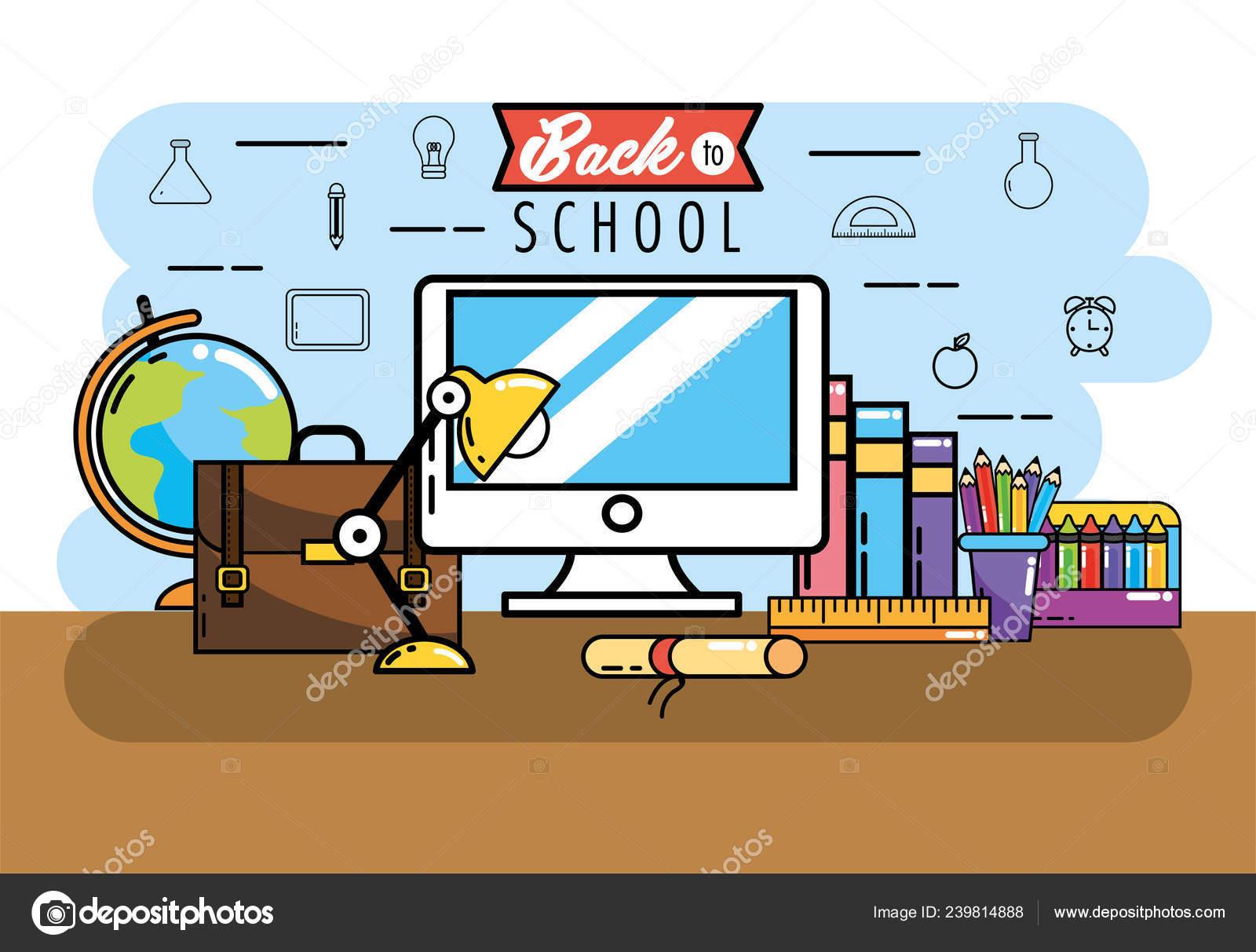 Computer Books Pencils Colors School Vector Illustration — Stock