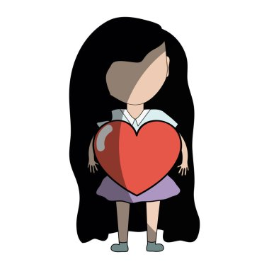 pretty girl with heart in the hand and casual wear, vector illustration