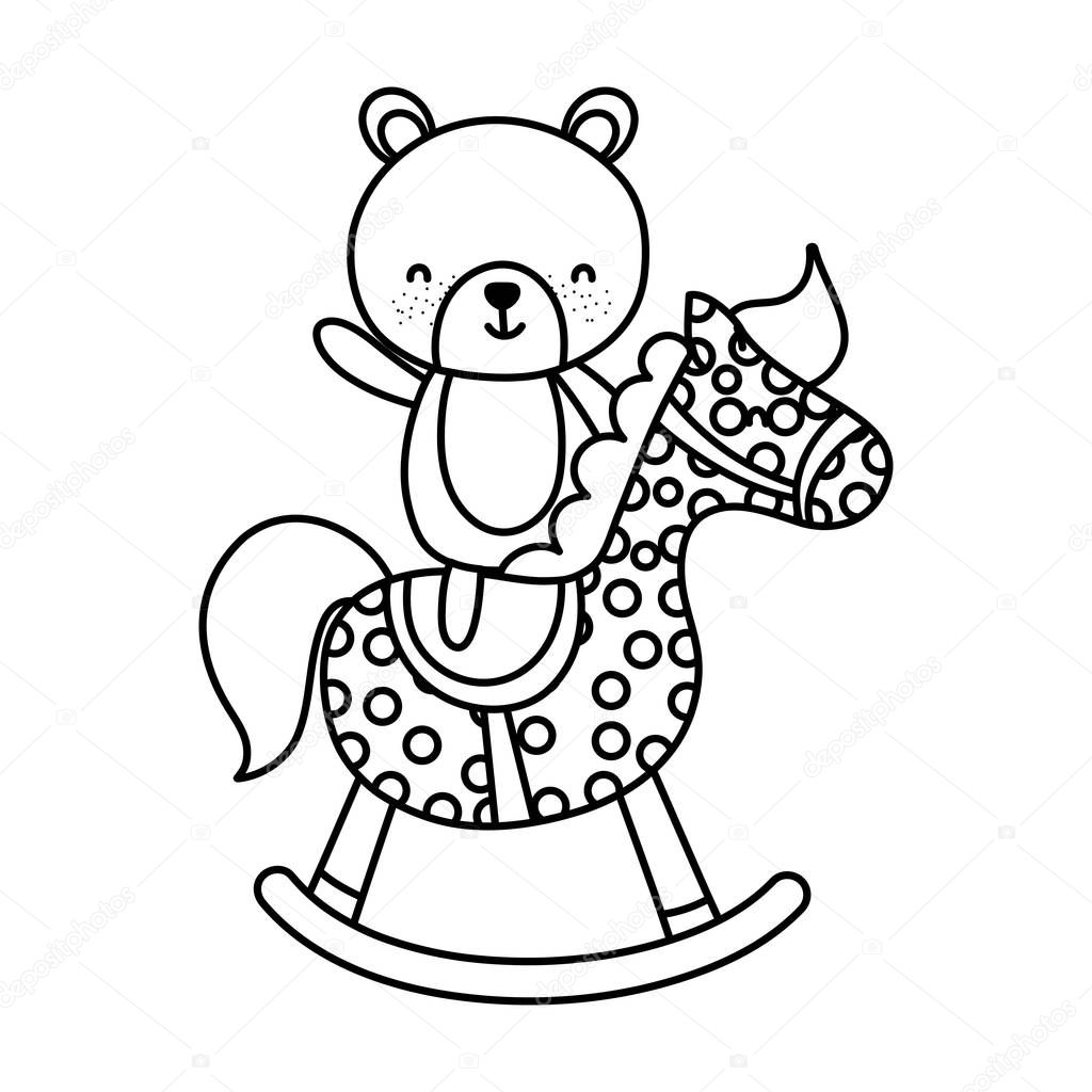 Line Bear Teddy Ride Rocking Horse Vector Illustration Premium Vector In Adobe Illustrator Ai Ai Format Encapsulated Postscript Eps Eps Format