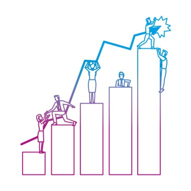 degraded line businesspeople teamwork in the statistics diagram bar vector illustration