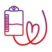 leromlott vonal táska vér adomány sürgősségi transzfúzió vektoros illusztráció