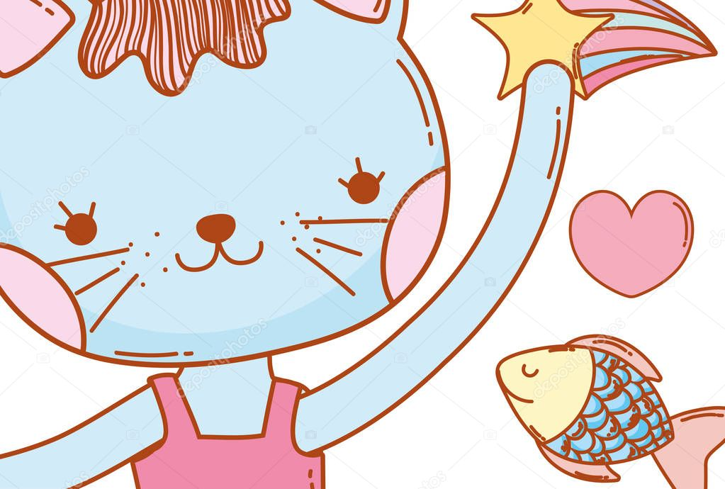 female cat animal with stars and fish vector illustration
