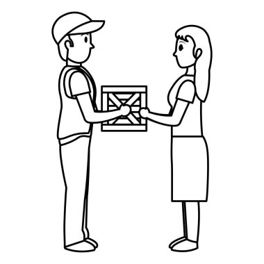 line man delivering package service to woman vector illustration