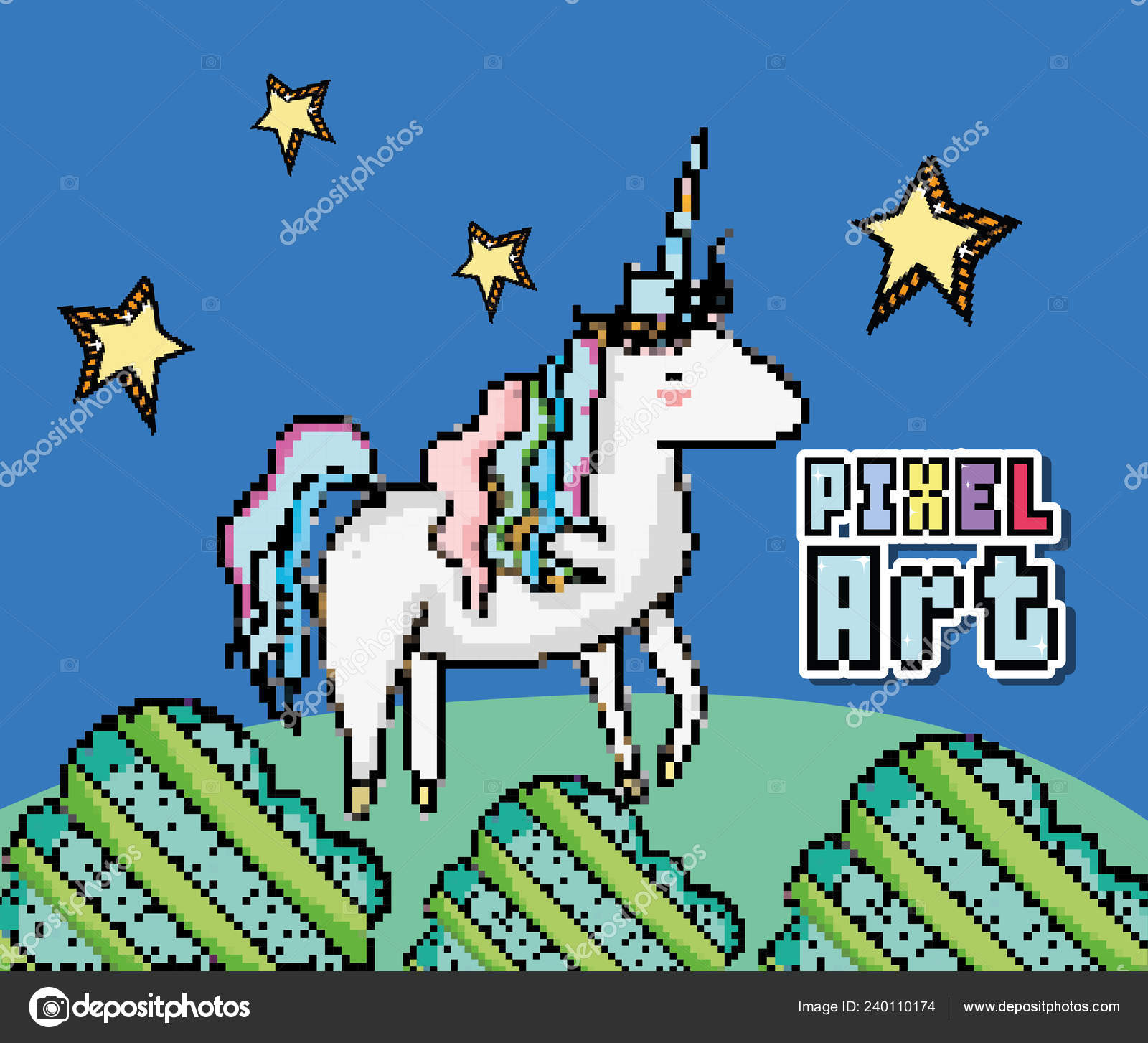 Pixel Art Cute Unicorn Vector Illustration Graphic Design
