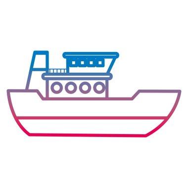degraded line ship delivery sea transport service vector illustration