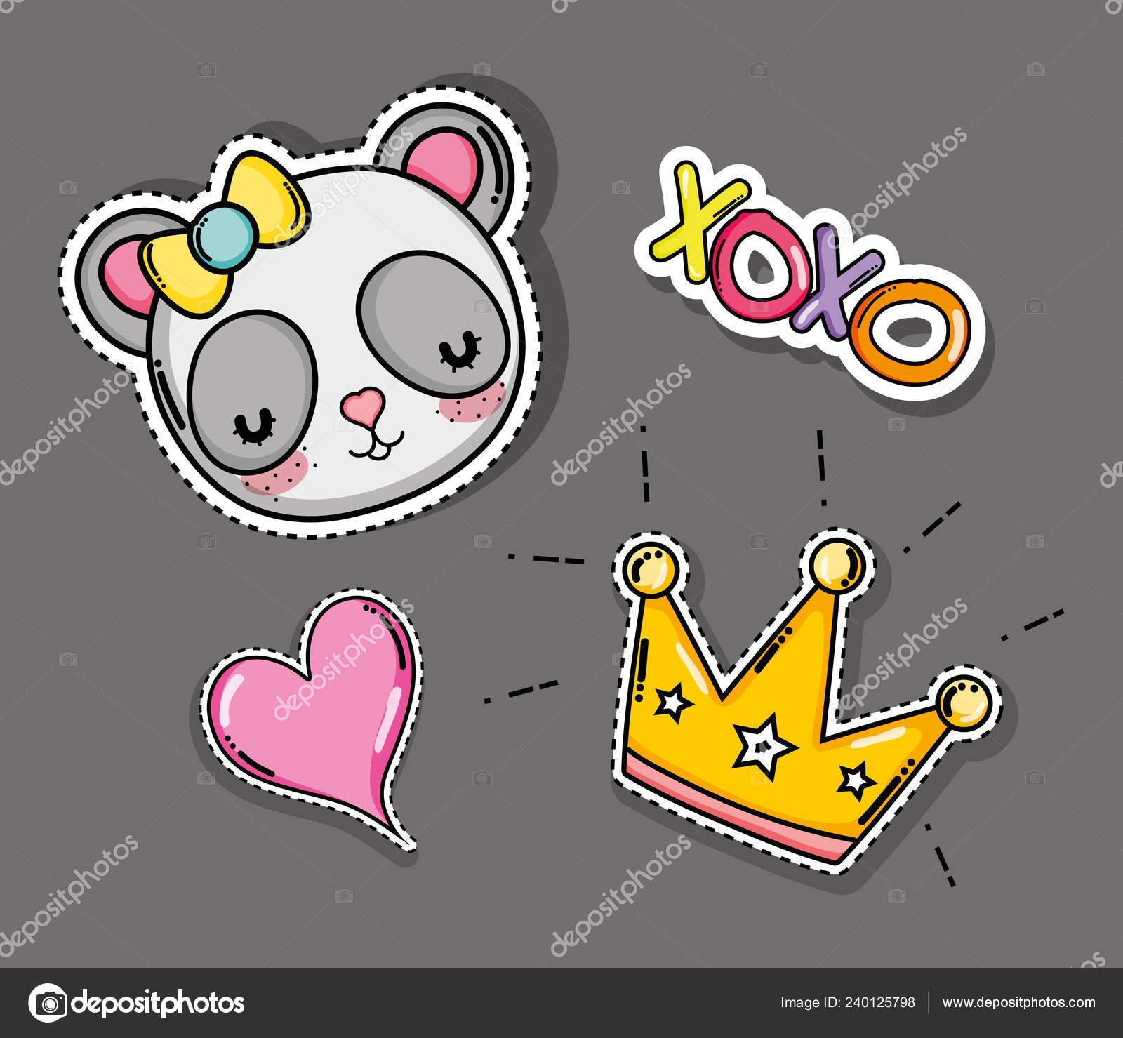 Cute Lovely Panda Heart Crown Cartoons Vector Illustration Graphic