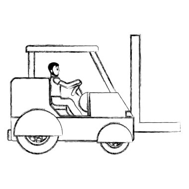 grunge man driving industrial forklift shipping vector illustration