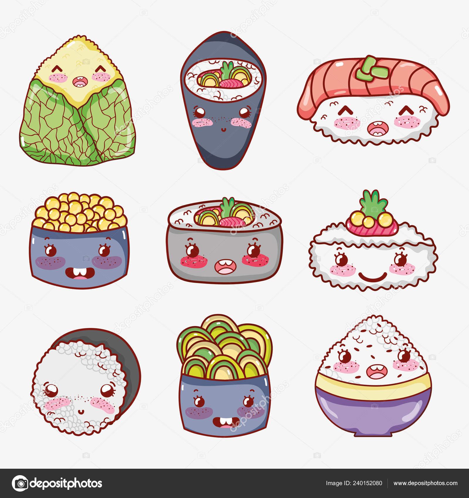 Coleção Comida Asiática Kawaii Bonito Dos Desenhos Animados