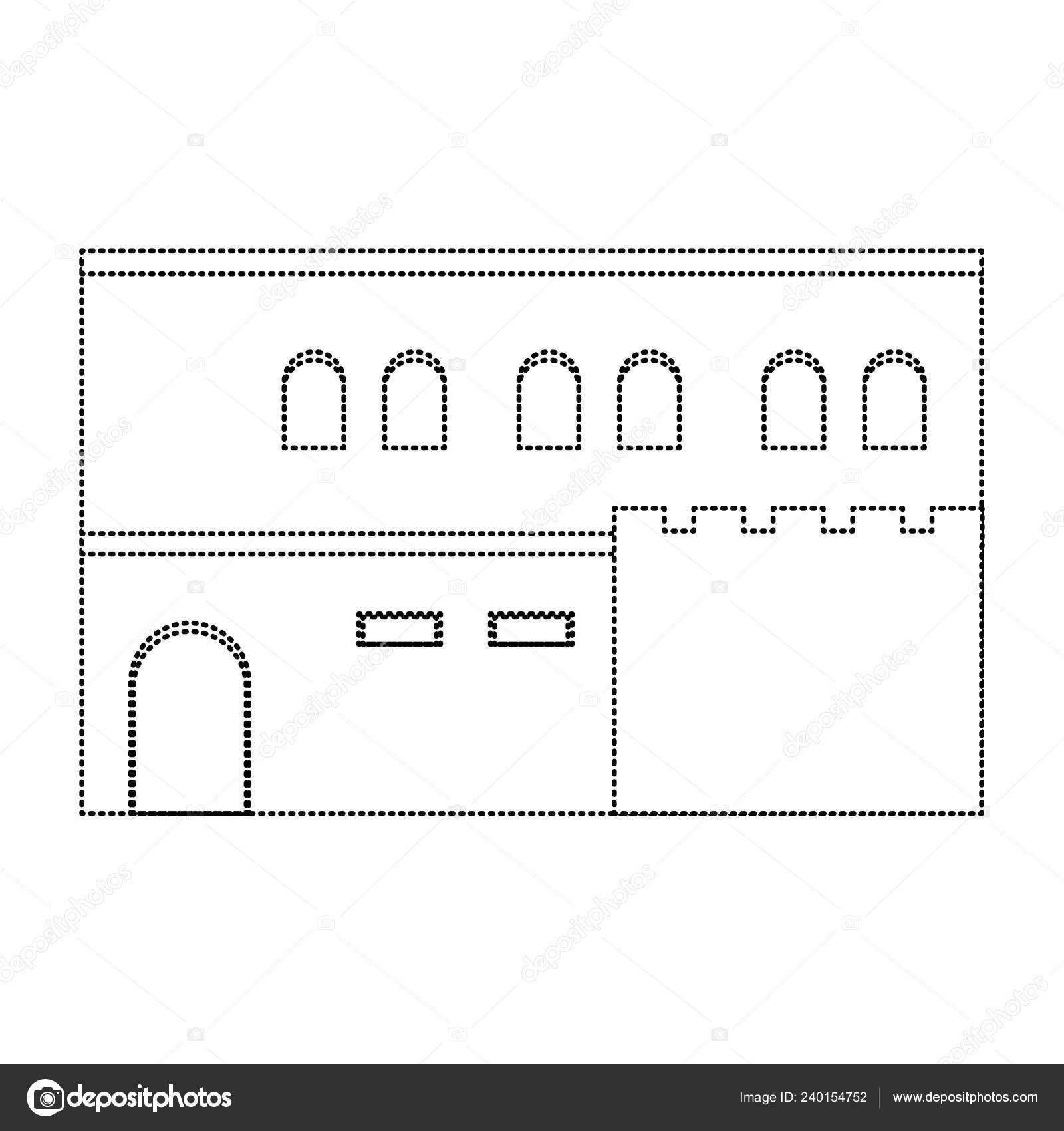 Dotted Shape Arabic House Windows Door Design Vector