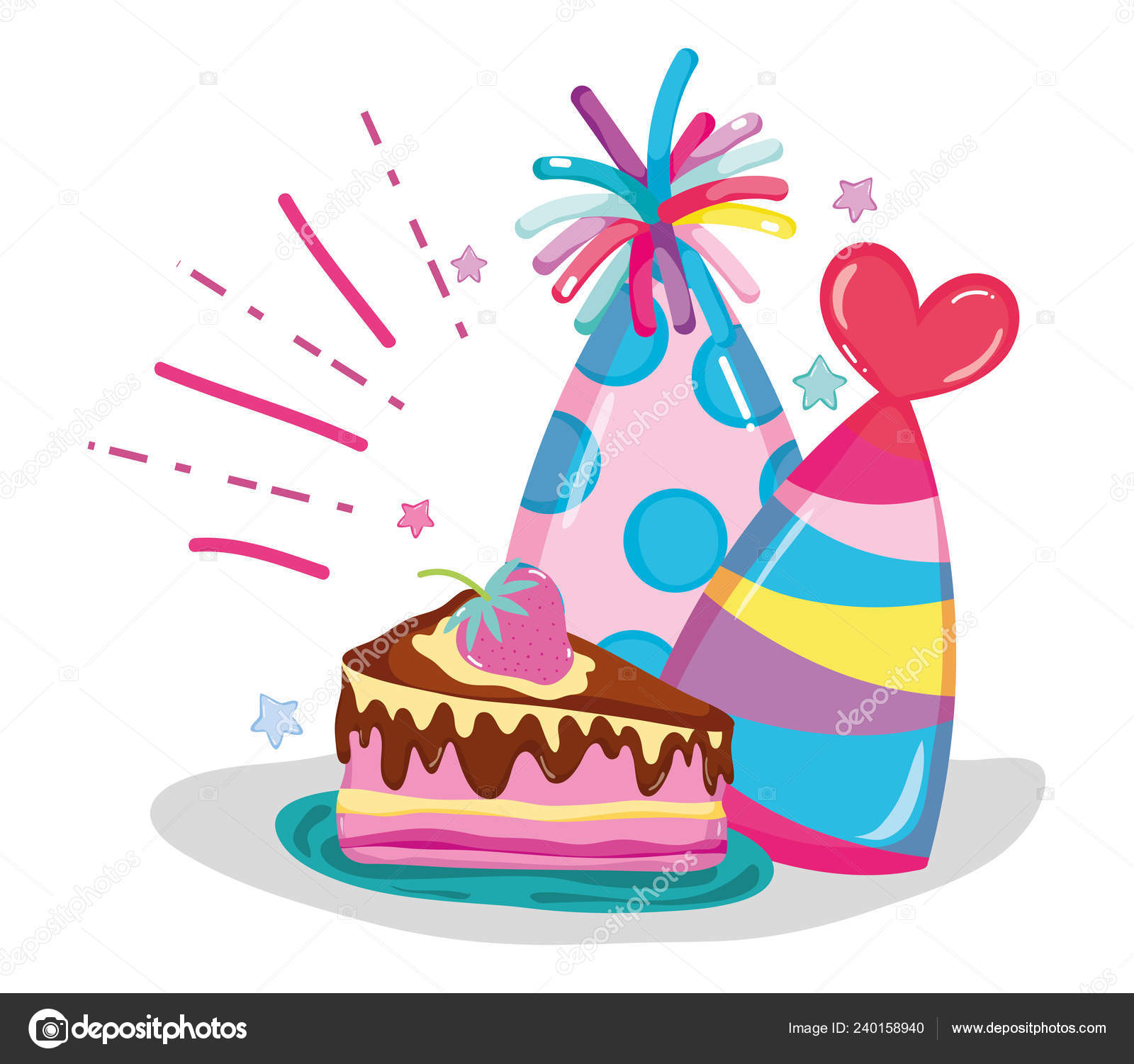 Happy Birthday Cake Hats Cartoons Vector Illustration Graphic Design Stock