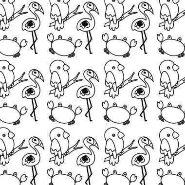 line flamingo with parrot bird and crab animal background vector illustration