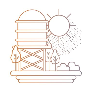 line water tank with trees and sun vector illustration