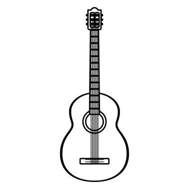 line guitar instrument music art style vector illustration