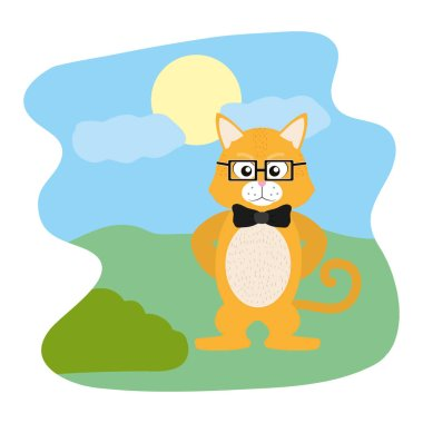 tiger animal with glasses and ribbon bow in the landscape vector illustration