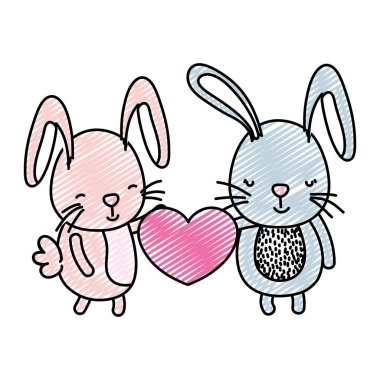 doodle couple rabbit with cute heart in their hands vector illustration